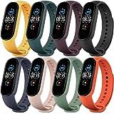 Monuary 8 Piezas Correas para Xiaomi Mi Band 5 Pulsera, Silicona Reloj de Recambio Brazalete Coloridos Correa para…