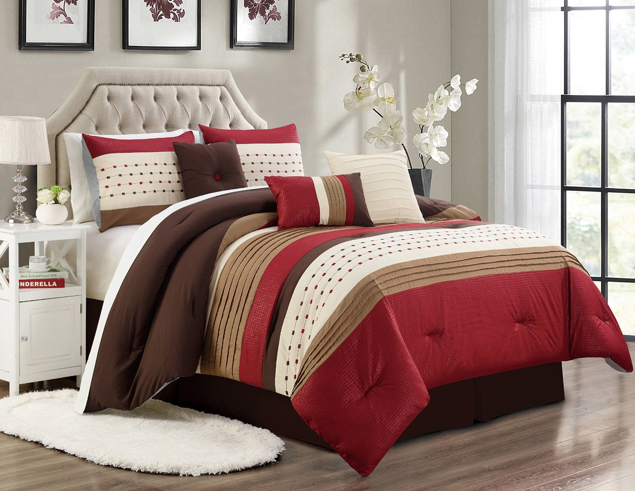 11 Piece Adrina Burgundy/Taupe/Coffee Bed in a Bag w/600TC Cotton Sheet Set Cal King