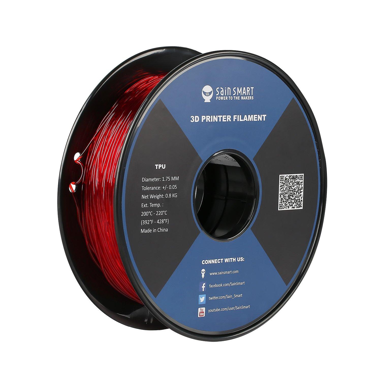 SainSmart 21-028-227 - filamento flessibile TPU per stampanti 3D, 1,75 mm, 1 kg, nero 75mm 1kg 101-90-164