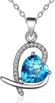TRENDY Love Coeur Rouge Cristal Bleu Pendentif en argent femme collier pour mariage