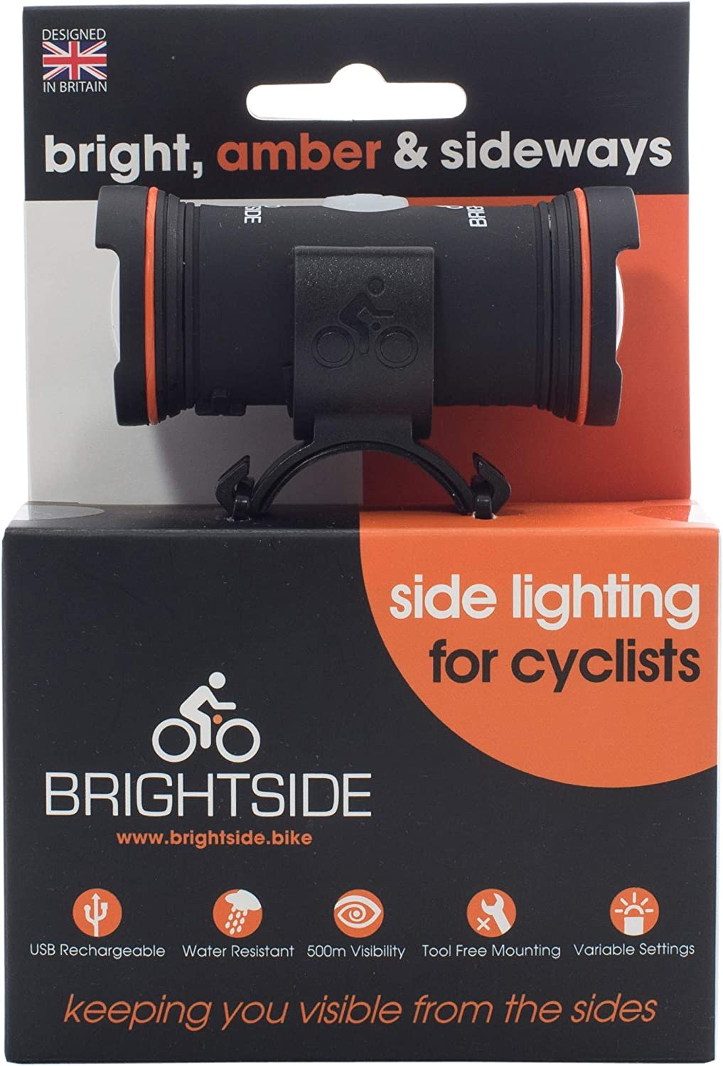 Brightside. Side Lights for Cyclists. Bright, Amber, Rechargeable, 36hr Battery 2.3oz Bike Light.