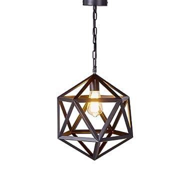 Diamond Life Lighting 1 Light Metal Geometric Pendant Ceiling Lamp Fixture, 12-inch, Antique Black