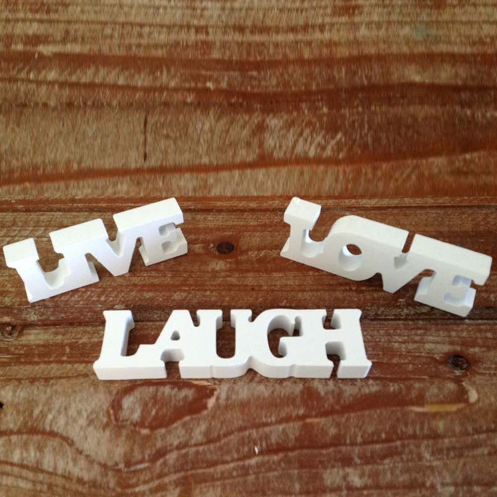 WINOMO LIVE LOVE LAUGH Wooden Letters Wedding Decoration Wedding Present (White)