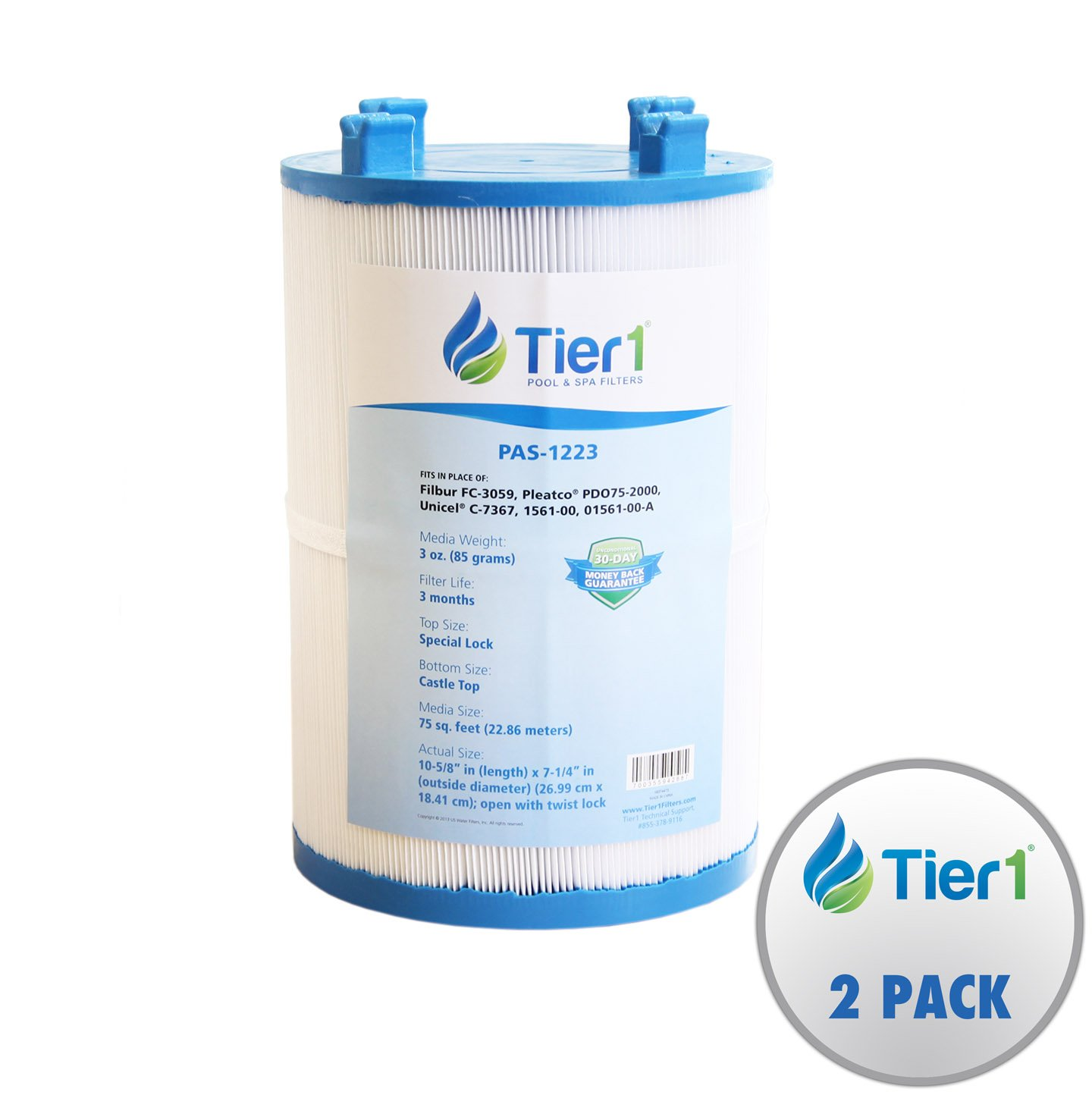 Tier1 Dimension One 1561-00, Pleatco PDO75-2000, Filbur FC-3059, Unicel C-7367 Comparable Replacement Spa Filter Cartridge for Dimension one Spas (2-Pack)