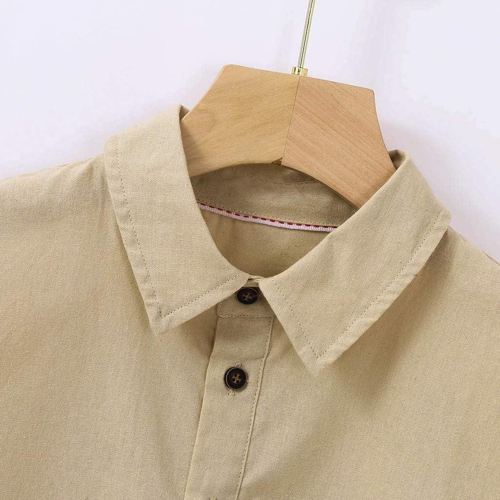 Camisa Baggy de Lino de algodón sólido con Mango Corto y ...