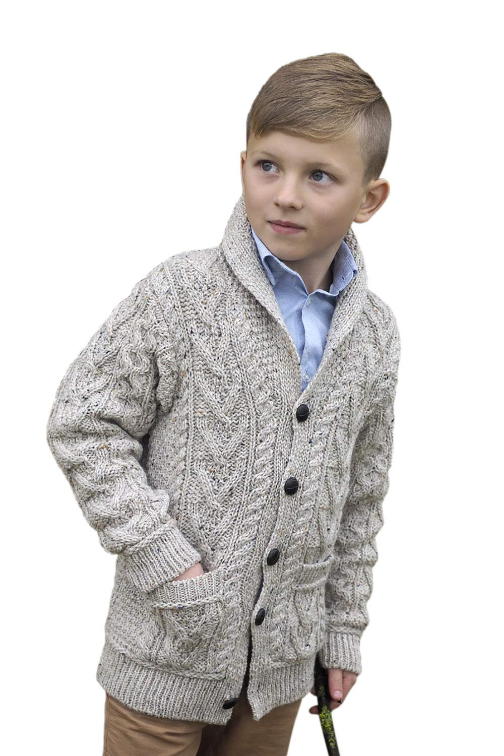 West End Knitwear Boy's Shawl Collar 100% Merino Wool Irish Cardigan Sweater,Oatmeal,6-7 Years