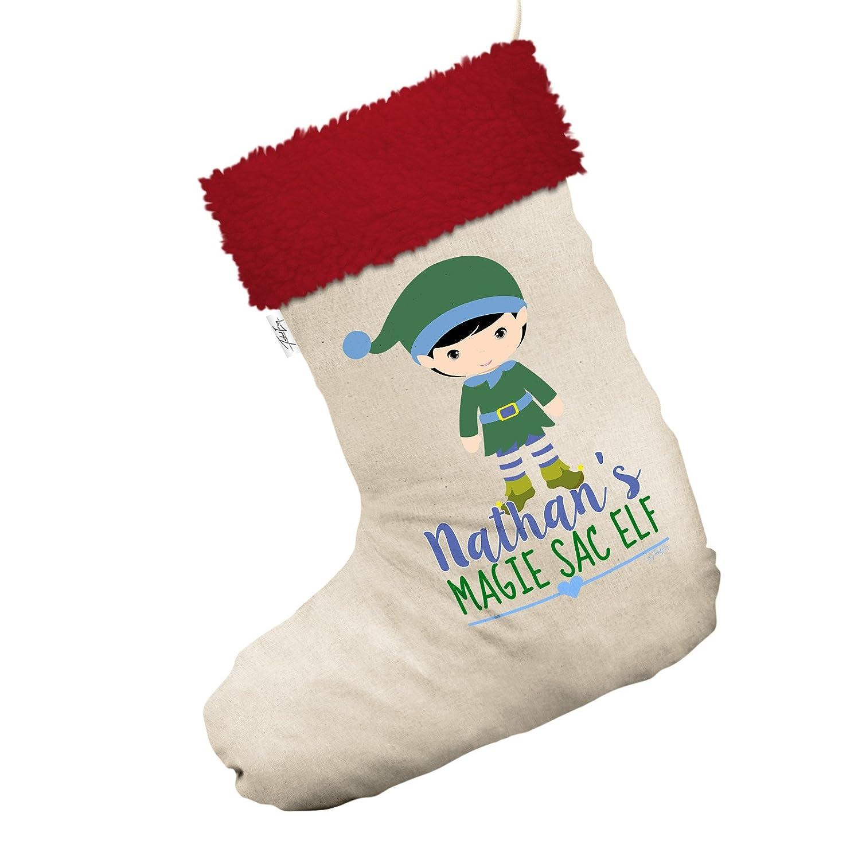 Amazon.com: Personalised Magie Sac Elf Large White Santa Claus ...