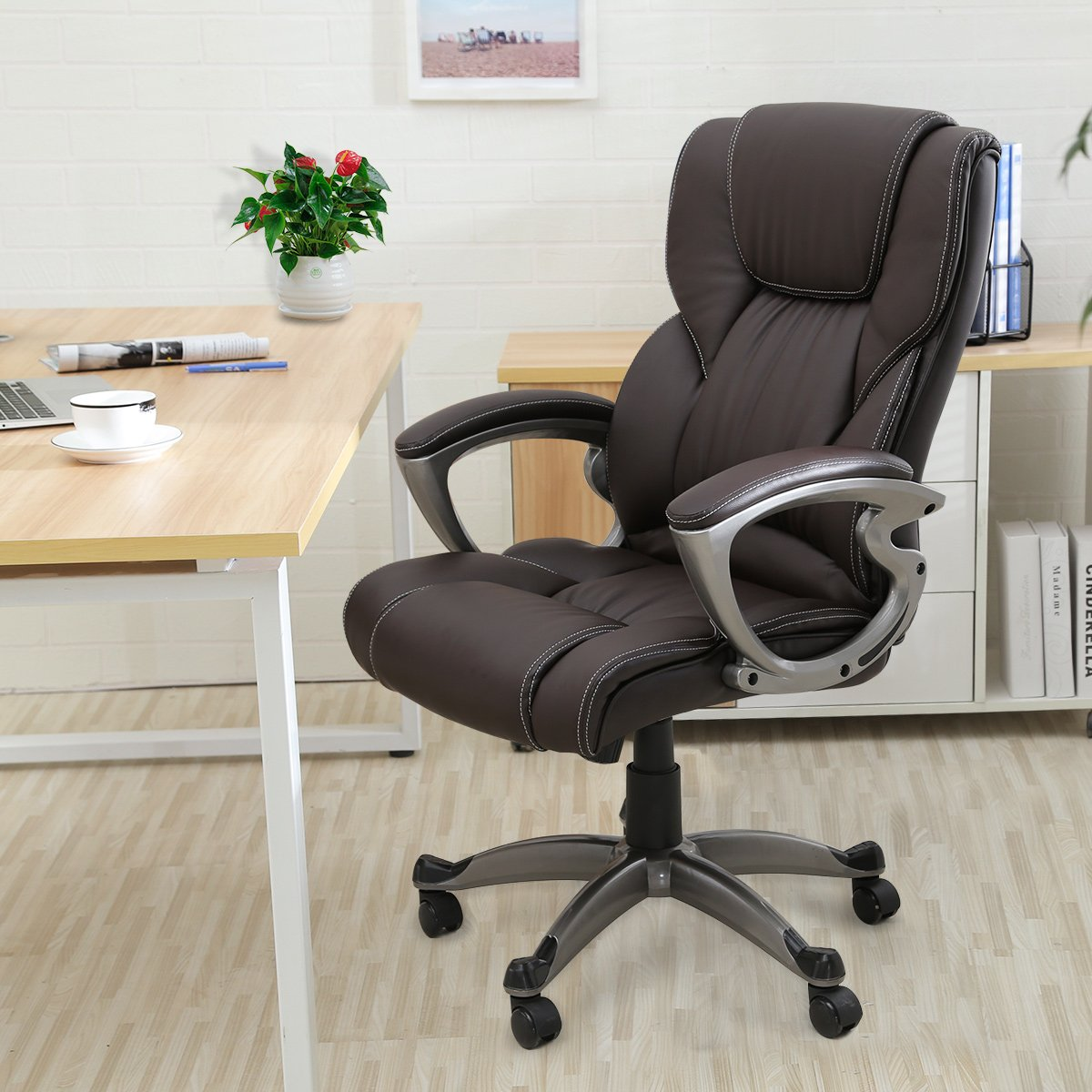 YAMASORO Leather Office Chair High Back Computer Chair for Office Desk Adjustable Swivel Chair with Arms Brown