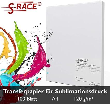 S-RACE - Papel de sublimación (DIN A4, 100 hojas, 120 g/m2, apto para impresoras de inyección de tinta con tinta de sublimación, secado rápido, resistente a las manchas: Amazon.es: Oficina y papelería