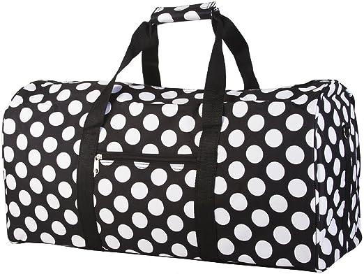 438224740b World Traveler Black and White Big Polka Dots Gym Duffle Bag 21-inch