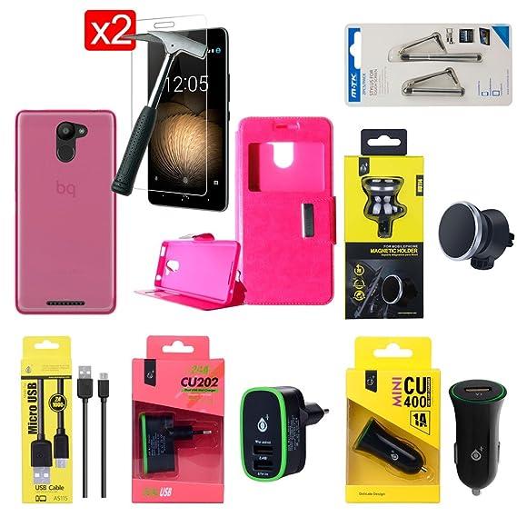 OVIphone Pack Accesorios PREMIUM BQ AQUARIS U PLUS, Fundas, Cristales Templados, Cargadores, Soporte Magnético, Puntero (Color Rosa)