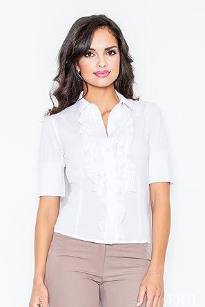 Figl Camisa de manga corta para mujer, con chorrera de ...