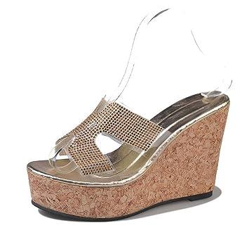 1947d039 DANDANJIE Zapatillas para Mujer Cuñas Tacones Sandalias Plataforma Mujer  Chanclas Altas Gruesas (Oro Plata) Zapatos caseros: Amazon.es: Deportes y  aire ...