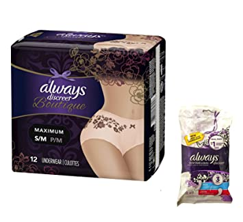 Always Discreet Boutique Incontinence Underwear & Pads - Maximum Protection S/M - 9 Disposable