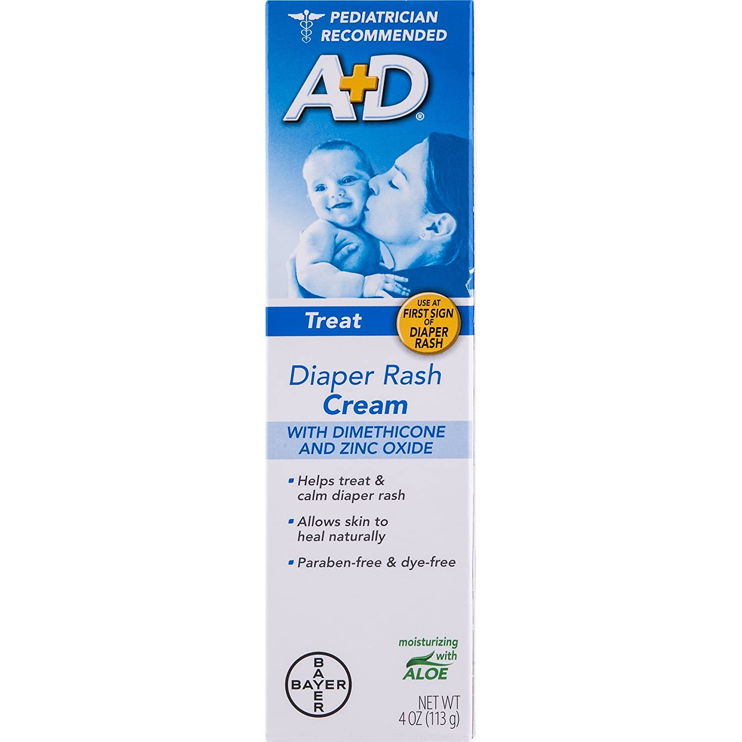 A+D Zinc Oxide Diaper Rash Treatment Cream, Dimenthicone 1%, Zinc Oxide 10%, Easy Spreading Baby Skin Care, 4 Ounce Tube Bayer - Berocca 41100811325