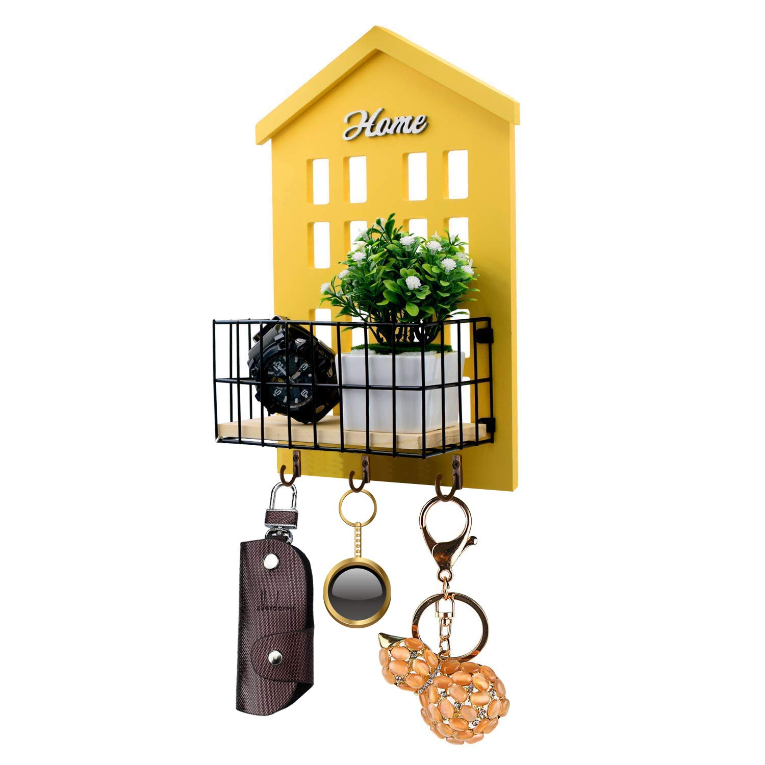 Key Holder -HENGSHENG Wood Wall Mounted.Mail, Letter Holder, Key Rack Organizer for Entryway, Kitchen, Office - Yellow(Upgraded to 3 Strong Hooks)