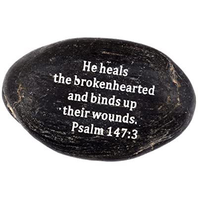 "Holy Land Market Engraved Inspirational Scripture Biblical Black Stones Collection - Stone VII : Psalm 147:3 :"" He Heals The brokenhearted, and binds up Their Wounds : Garden & Outdoor"