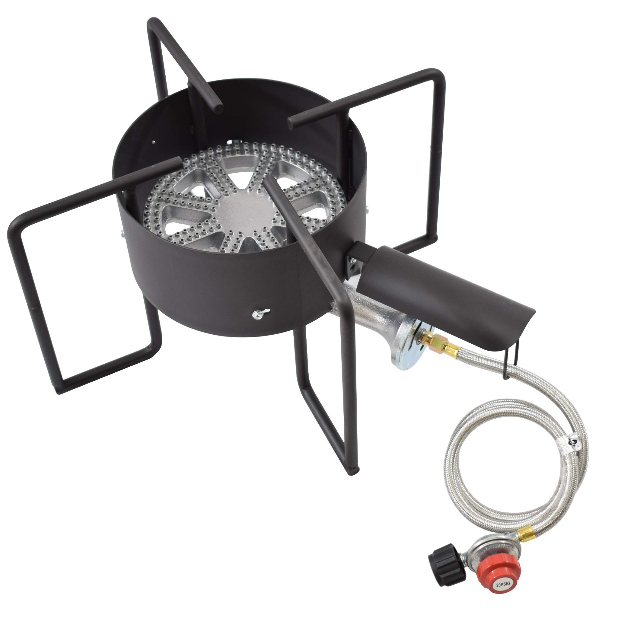 COOKAMP High Pressure Banjo 1-Burner Outdoor Propane Gas Cooker with 0-20 PSI Adjustable Regulator and Steel Braided Hose SA1450 by COOKAMP