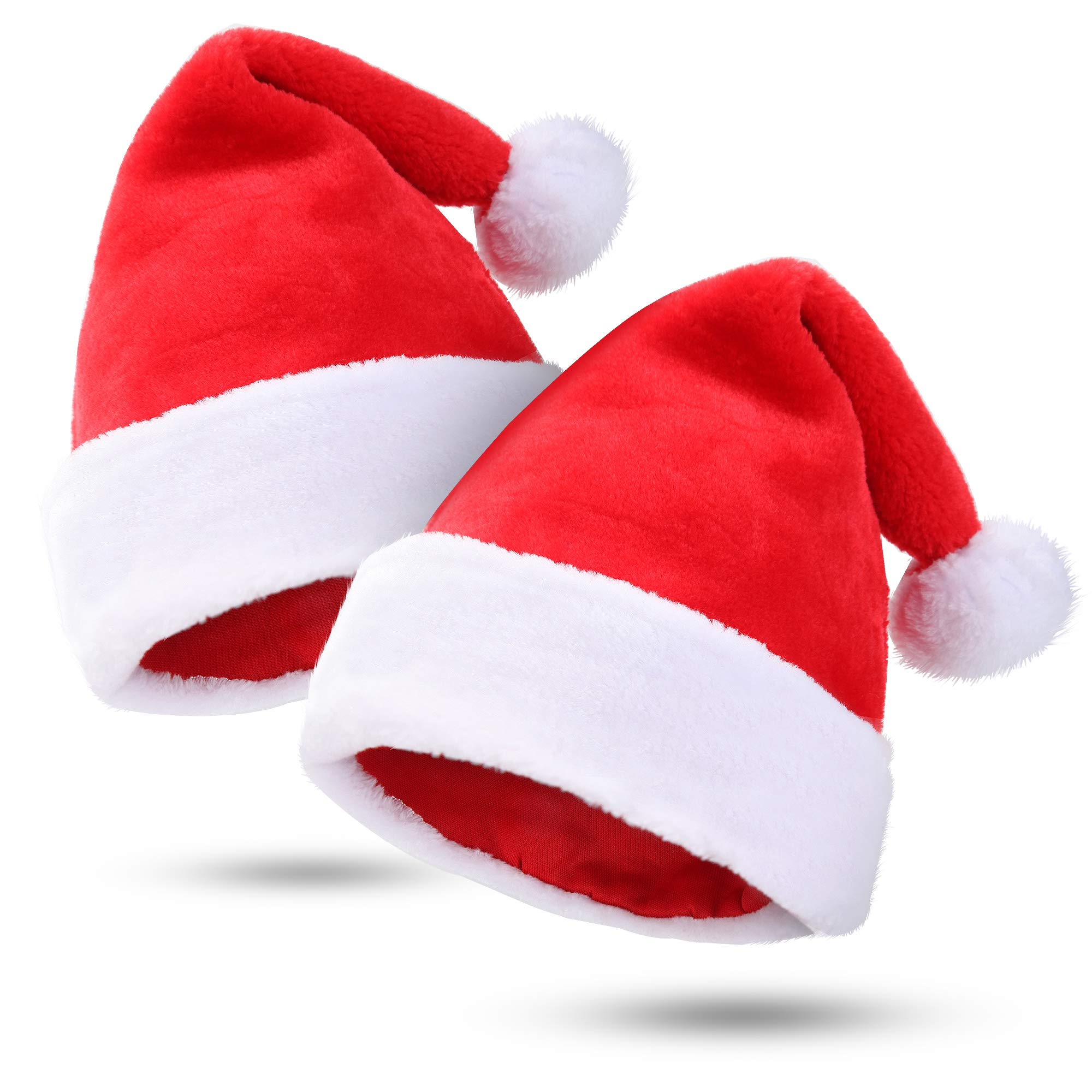 Kederwa 2 Pack Christmas Hats Thicken Santa Hats Plush and Soft Party Hats for Christmas Costume Party and Holiday Event by Kederwa