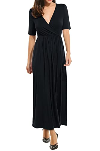 Meaneor Women's Sexy V Neck Jersey Maxi Dress with Elastic Waistband