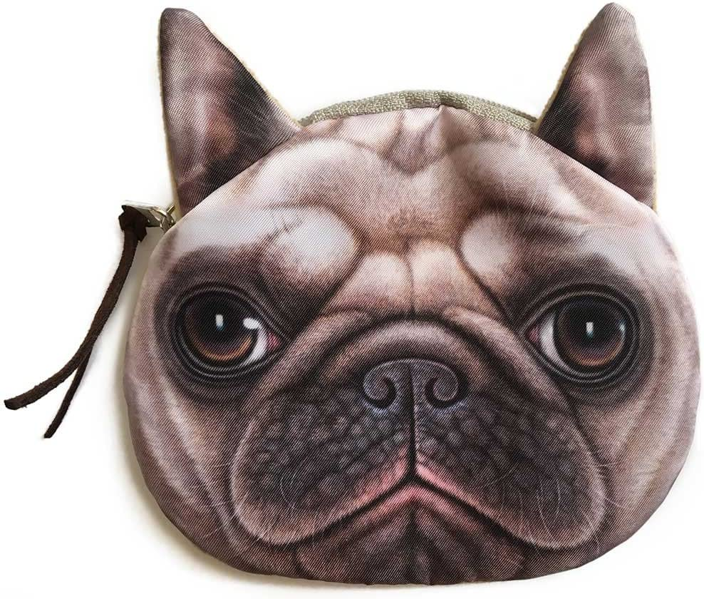 Realistic Shar Pei Dog Face Coin Purse | Cute Pug Head Zipper Closure Wallet