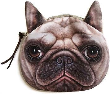 Realistic Shar Pei Dog Face Coin Purse | Cute Pug Head Zipper Closure Wallet