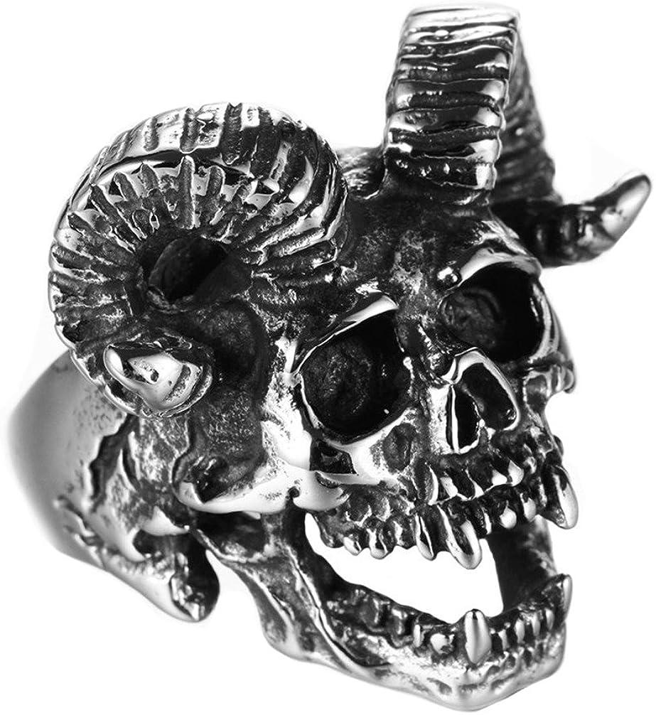 PAMTIER Men's Stainless Steel Vintage Satan Goat Horn Skull Ring Silver Black