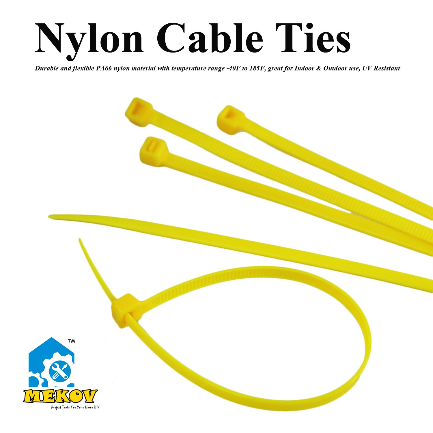 Nylon Cable Ties, Mekov, 6 Inch Heavy Duty Cable Ties, 18-LB Tensile Strength, Zip Ties with 0.1 Inch Width, Durable, Indoor & Outdoor use, UV Resistant (6'', 1000 Pack, Yellow) by Mekov (Image #2)