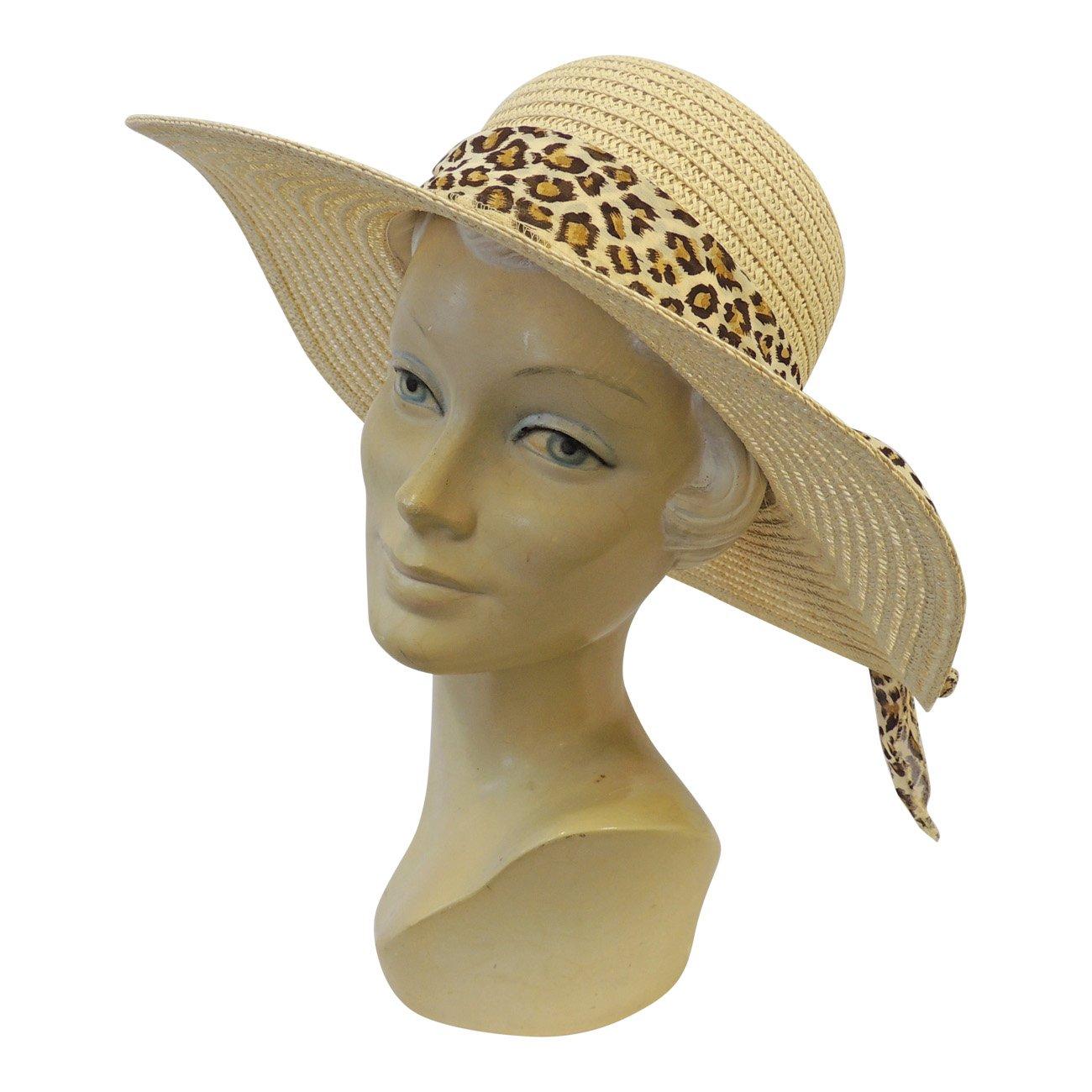 6e342223788b36 New Retro Wide Brim Raffia Leopard Summer Sun Hat 1920's 1930's 1940's Style:  Rosa Rosa: Amazon.co.uk: Clothing
