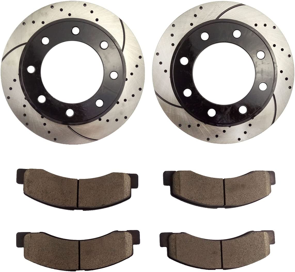 2000 2001 2002 For Ford Excursion Coated Rear Disc Brake Rotors and Ceramic Pads