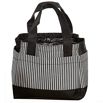 Insulated Canvas Stripe Picnic Carry Case Thermal Portable Lunch Bag Match L