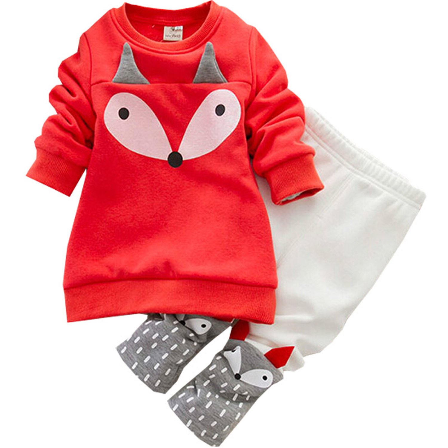Baby Girls 2pcs Winter Outfits Long Sleeve Fox Print Fleece Sweatshirt + Pants Tracksuit Clothing Sets BABHSXHLTZ