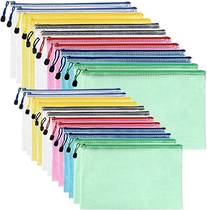 Carteras de pl/ástico A4 5 unidades carpetas de documentos sobre carpetas con cremallera