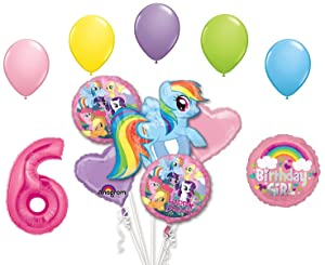 My Little Pony Rainbow Dash 6th Birthday Party Supplies 12 Piece Mylar & Latex Balloons Set Latex and Mylar Balloon Set