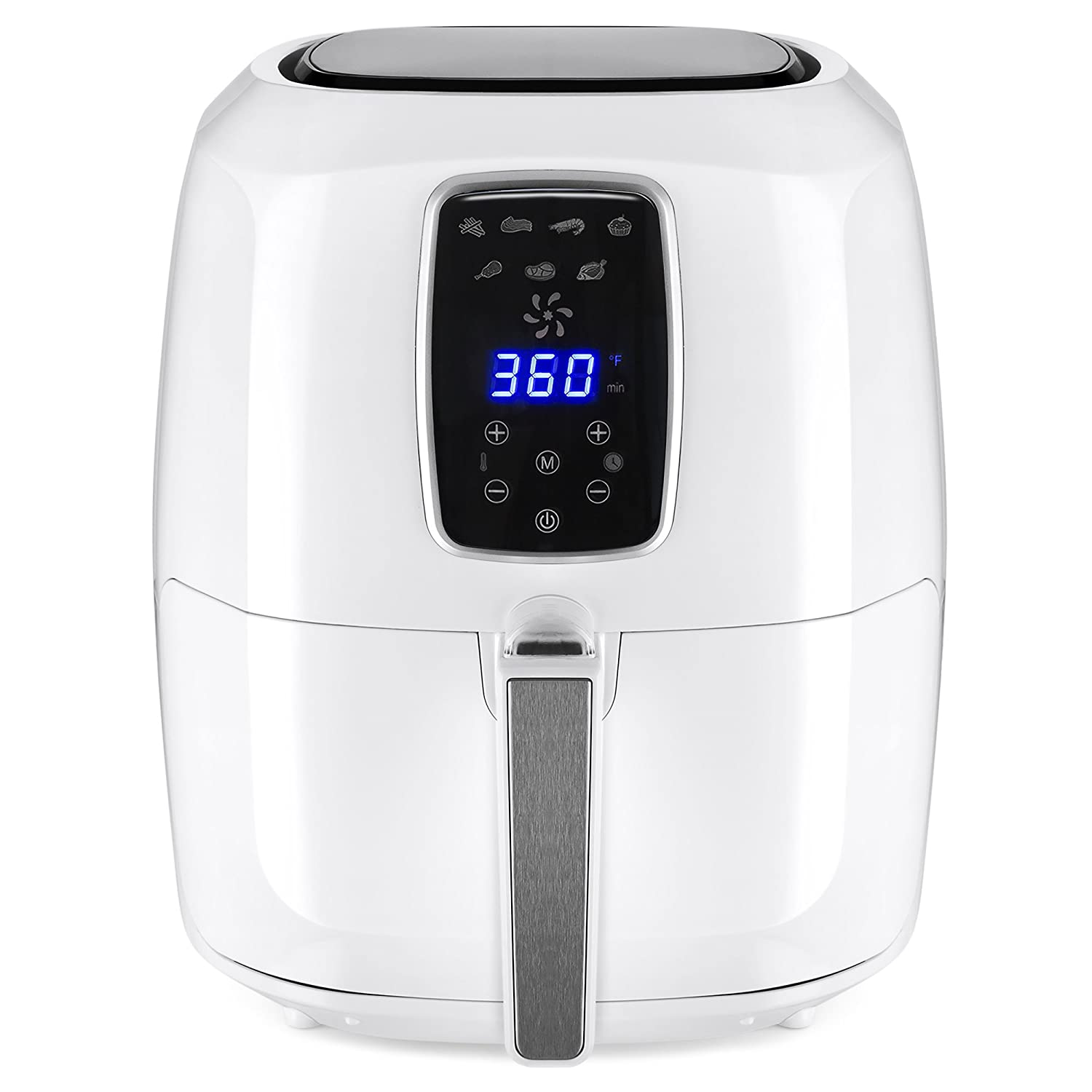Best Choice Products 5.5qt 7-in-1 Electric Digital Family Sized Air Fryer Kitchen Appliance w/LCD Screen, Non-Stick Coating, Temp Control, Timer, Removable Fryer Basket - White