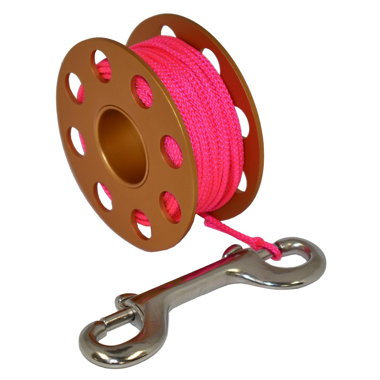 Scuba Choice Aluminum Finger Spool 75ft Dive Reel w/Bolt Snap-Gold/Pink