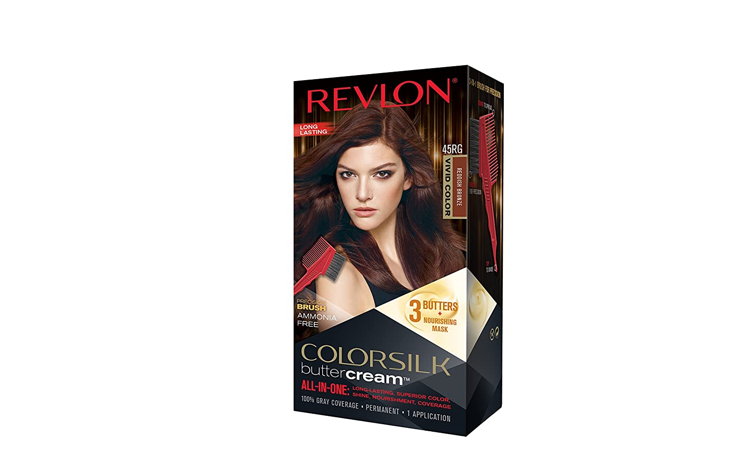 Revlon Colorsilk Buttercream Hair Dye, Vivid Reddish Bronze, Pack of 1