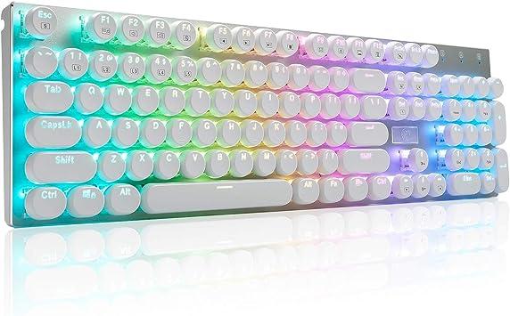 Blanco Incluidos 2 interruptores de reemplazo Teclado de Juego mec/ánico Cableado Teclado retroiluminado con 6 Colores Led con OUTEMU Interruptores Azules 104 Teclas Dise/ño