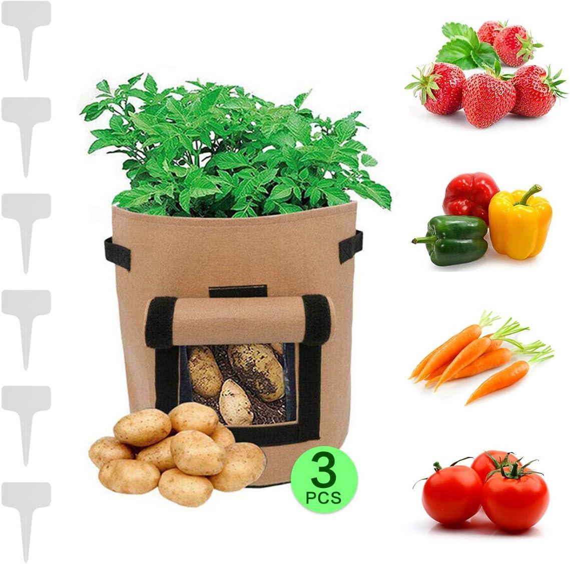 Cultivo Patatas, 3 Piezas Camel Brown, 7 Galones, Vida útil Útil ...