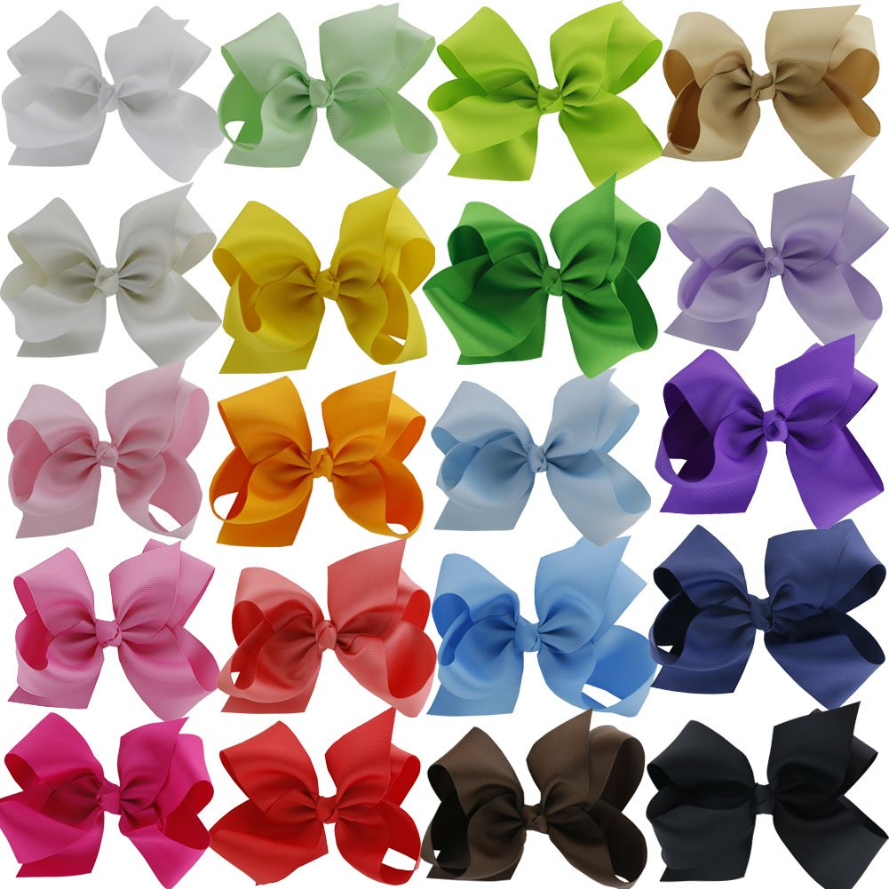 QingHan® Grosgrain Ribbon 6 Large Boutique Hair Bows Alligator Clips Pack Of 20 HJ008
