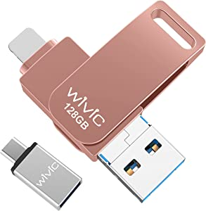 USB Flash Drive Photo Stick, WIVIC USB 3.0 Memory Stick for Photos, 128GB Photostick Thumb Drive Compatible with iPhone/iPad/iOS/Android/Mac/PC (Pink)