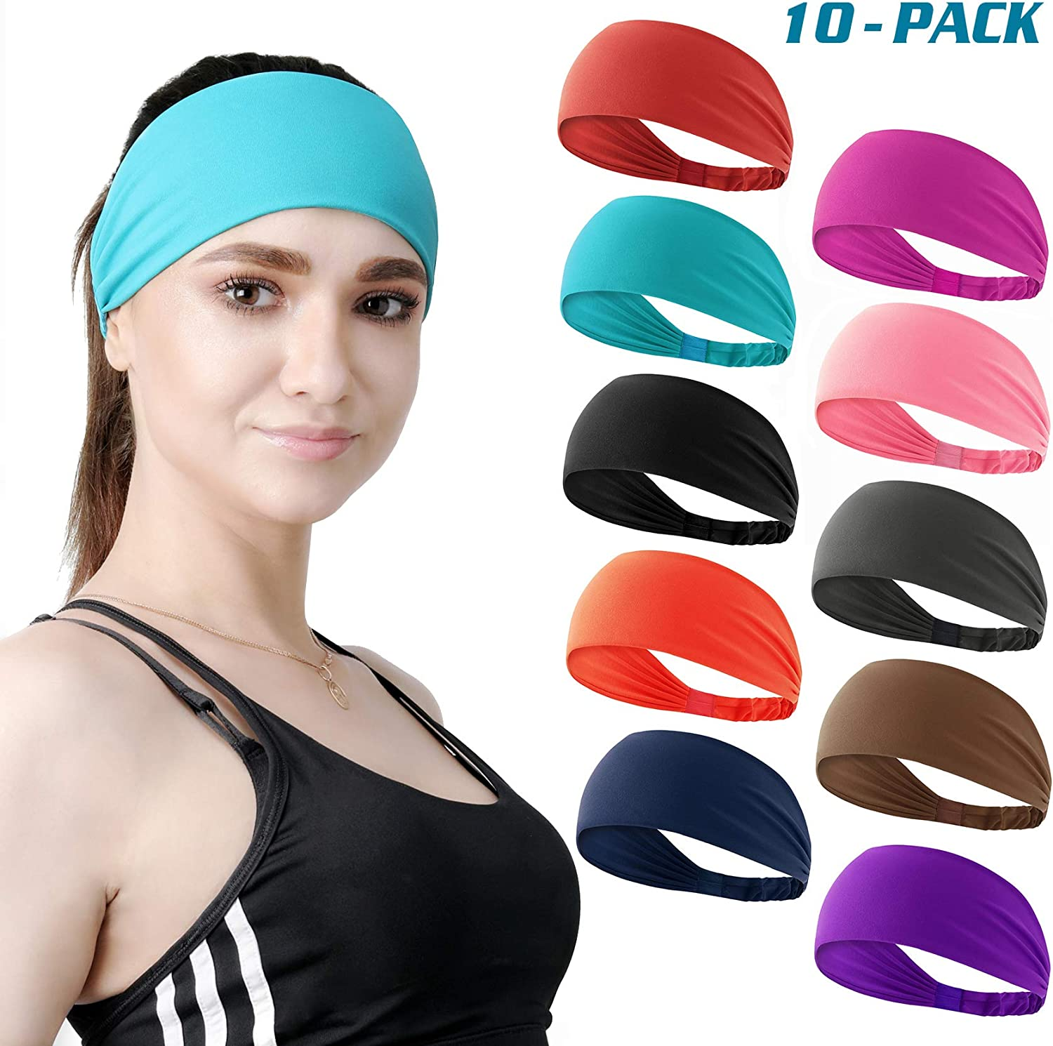 DASUTA Set of 10 Women's Workout Headband Non Slip Lightweight Multi Headbands Headscarf for Yoga Running Sports Travel Athletic Fitness Elastic Wicking fits All Women & Men