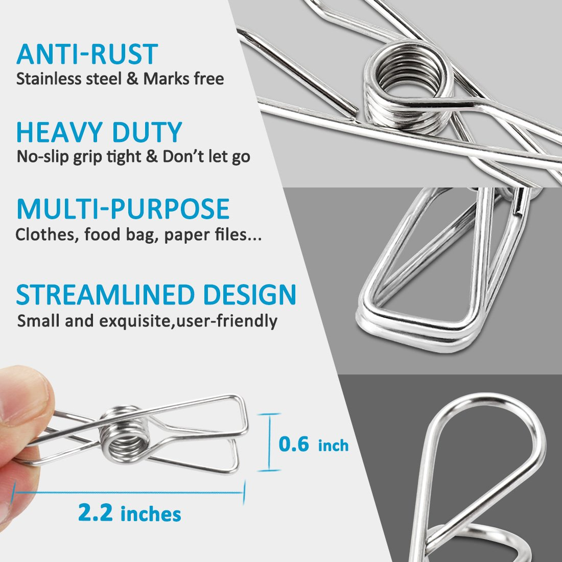 ITOWE Clothespin 2.2?pin,60 Pack Stainless Steel Wire Clip,Durable ...