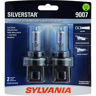 SYLVANIA - 9007ST.BP2 - 9007 SilverStar - High Performance Halogen Headlight Bulb, High Beam, Low Beam and Fog Replacement Bulb, Brighter Downroad with Whiter Light (Contains 2 Bulbs): Automotive