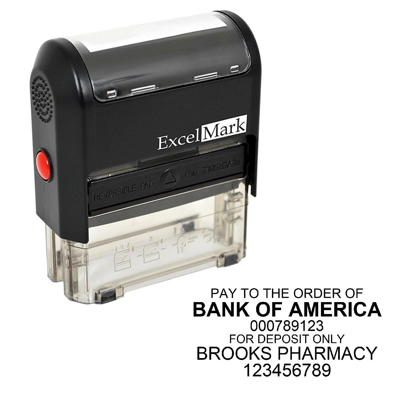 ExcelMark Custom Bank Deposit Stamp - 6 Lines (Stamp Only) by ExcelMark
