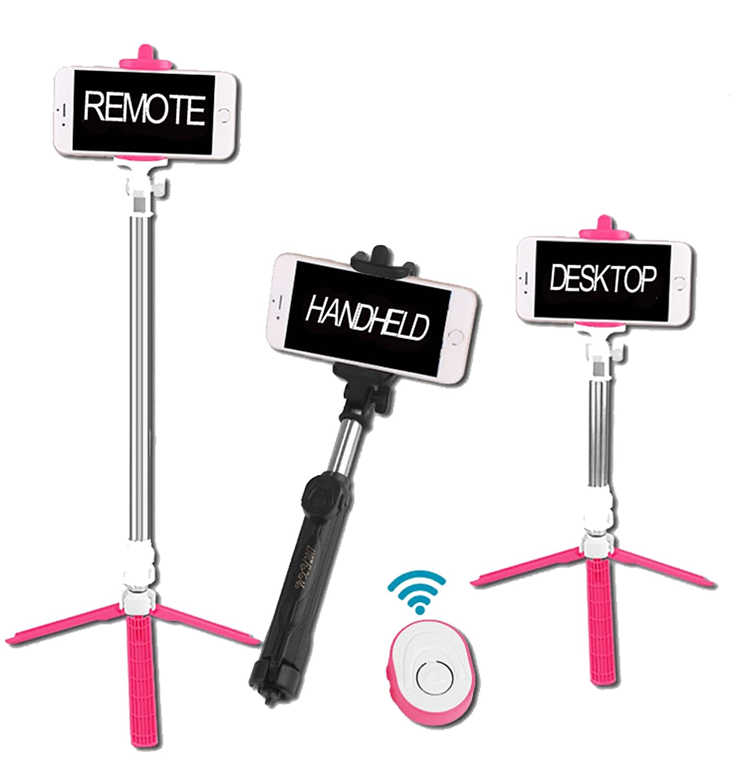Aiiot Universal Fashion Design Portable Selfie Stick Foldable Tripod Stand Super Light with Free Bluetooth Remote Shutter For Phones Width Up to 3.5 Inch (Pink)