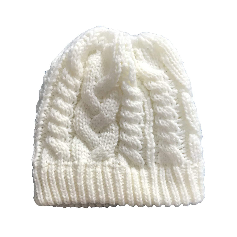 Sombreros de Ganchillo de Lana de Punto elástico para niñas Gorras ...