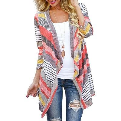 Myobe Women's Summer Kimonos Geometric Print Drape Boho Open Front Cable Knit Sweater Cardigans at Women's Clothing store