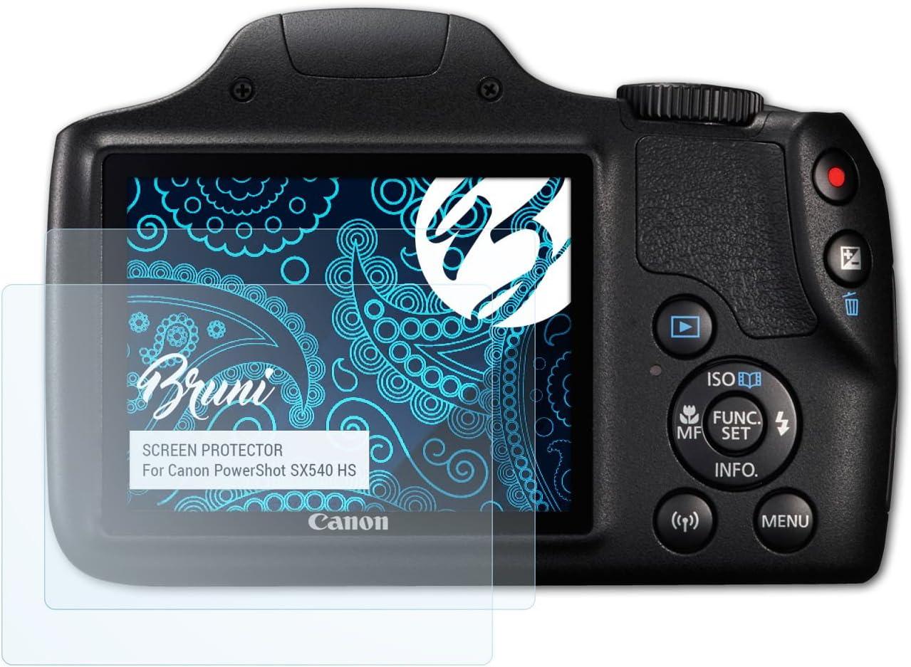 glasklare Displayschutzfolie 2X Bruni Schutzfolie kompatibel mit Canon PowerShot SX540 HS Folie