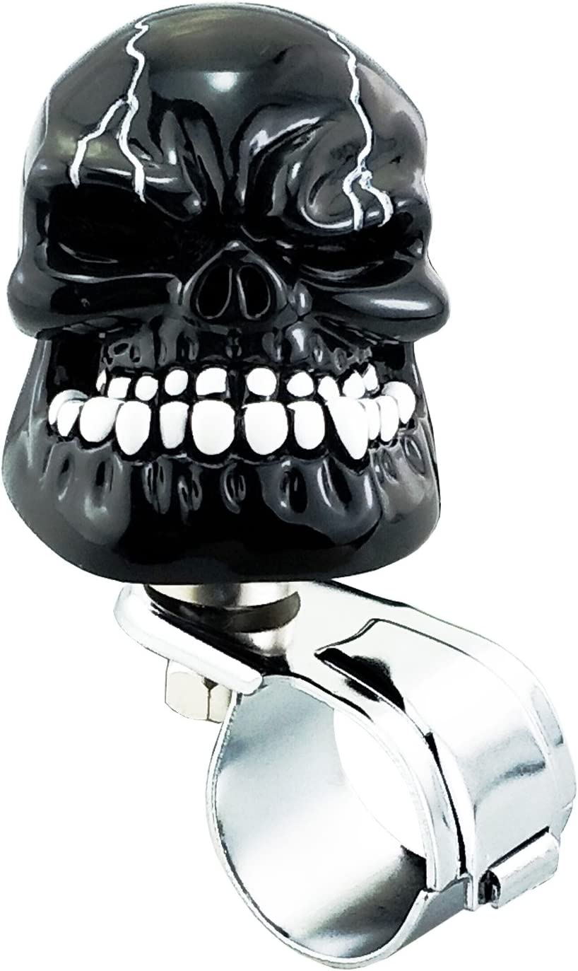 Lunsom Skull Shape Steering Wheel Spinner Resin Driving Power Handle Control Grip Booster Suicide Knob Car Turning Aid Helper Fit Universal Vehicle Silver